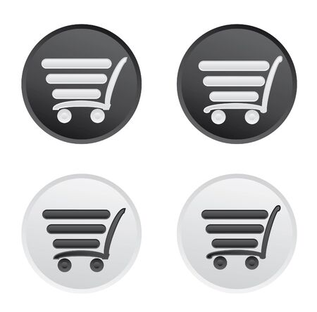 supermarket series: Icon set with a cart for a supermarket or shopping.