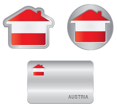 austrian flag: Home icon on the Austrian flag