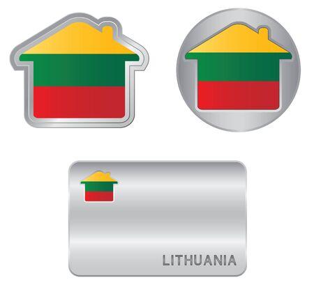 lithuania flag: Home icon on the Lithuania flag