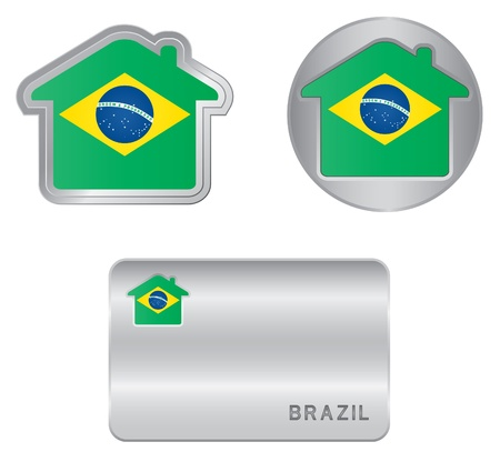 Home icon on the Brazil flag Stock Vector - 18438111