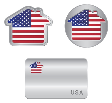 icono inicio: Home icono en la de EE.UU. bandera