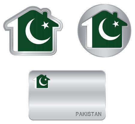 pakistan flag: Home icon on the Pakistan flag