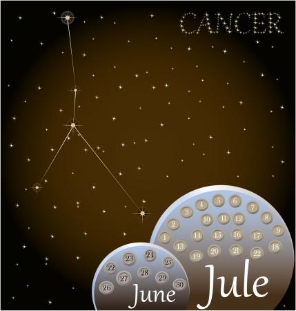 Calendar of the zodiac sign Cancer Stock Vector - 19165308