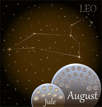 zodiacal sign: Calendario del signo zodiacal Leo Vectores