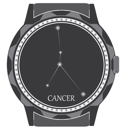 The watch dial with the zodiac sign Cancer. Stock Vector - 19530379