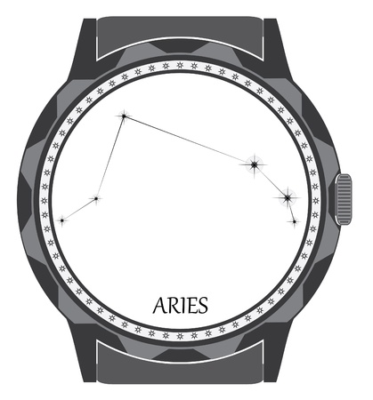 The watch dial with the zodiac sign Aries.  Vector
