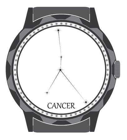 The watch dial with the zodiac sign Cancer. Stock Vector - 19530380