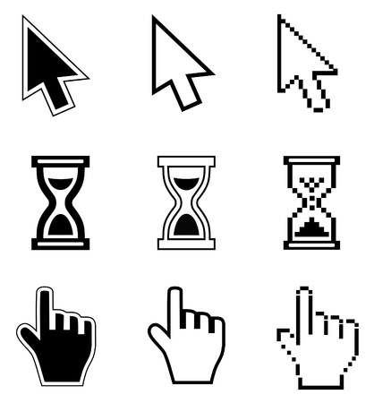 mouse pointer: Pixel cursors icons-arrow, hourglass, hand mouse  illustration  Illustration