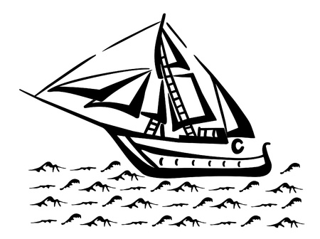 galley: Silhouette of a sailboat on the waves
