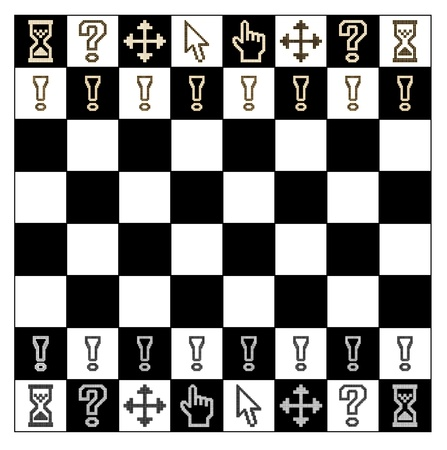 Pixel cursors icons in the form of figures chess board  Vector illustration  Vector