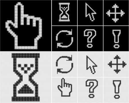 Pixel cursors icons-arrow, hourglass, hand mouse  Vector illustration  Vector