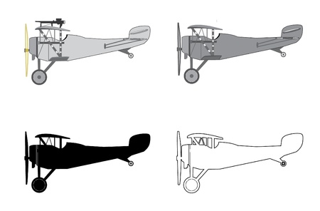 Model airplane retro biplane  Vector illustration  Illustration