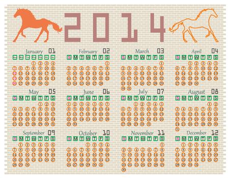 Calendar 2014 on a brick wall Vector