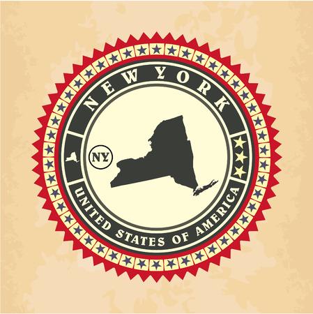Vintage label-sticker cards of New York, vector illustration Vector