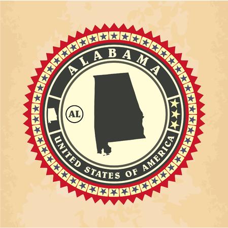 Vintage label-sticker cards of Alabama, vector illustration Vector