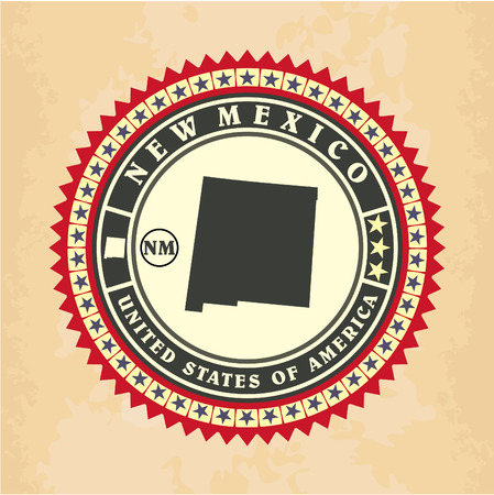 Vintage label-sticker cards of New Mexico, vector illustration Vector
