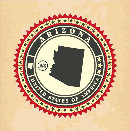 Vintage label-sticker cards of Arizona, vector illustration Vector