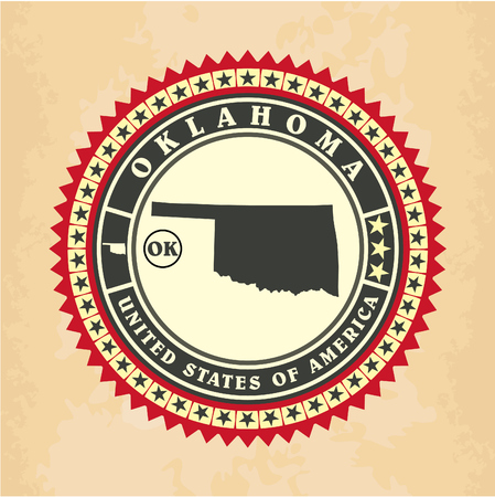 Vintage label-sticker cards of Oklahoma, vector illustration Vector