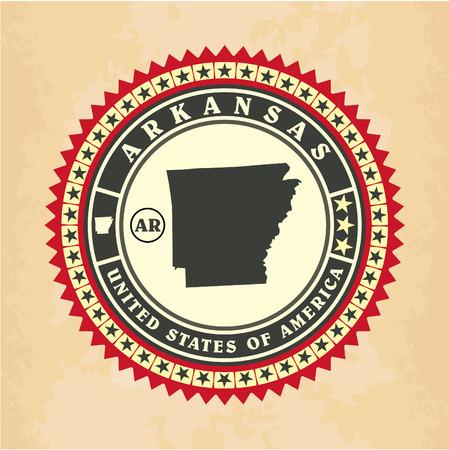 Vintage label-sticker cards of Arkansas, vector illustration Vector