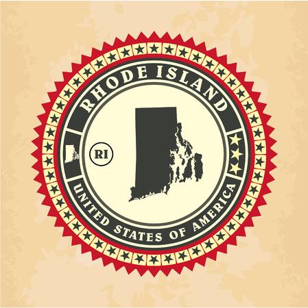 Vintage label-sticker cards of Rhode Island, vector illustration Vector