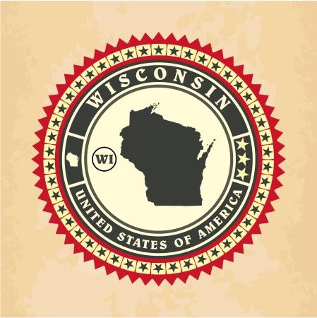 Vintage label-sticker cards of Wisconsin, vector illustration Vector