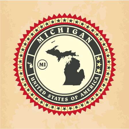 Vintage label-sticker cards of Michigan, vector illustration Vector