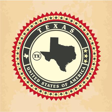 Vintage label-sticker cards of Texas, vector illustration Vector