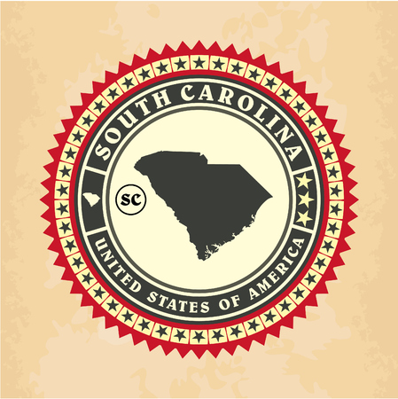 Vintage label-sticker cards of South Carolina, vector illustration Vector