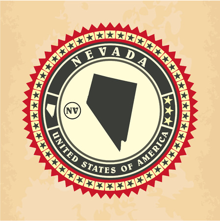 Vintage label-sticker cards of Nevada, vector illustration Vector