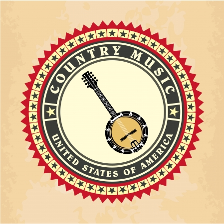 midwest: Vintage label country music vector