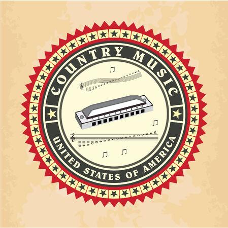 country music: Vintage etichetta di musica country vettore
