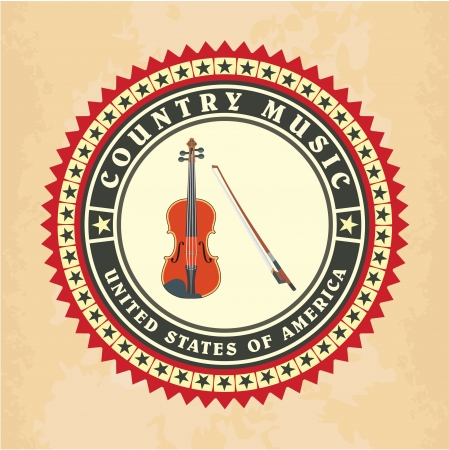 country music: Vintage label country music vector