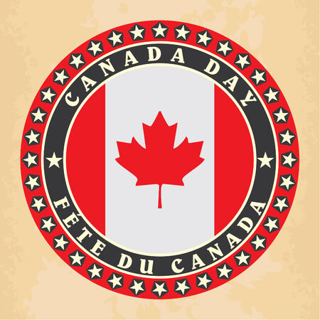 Vintage label with Canada Day. Vector