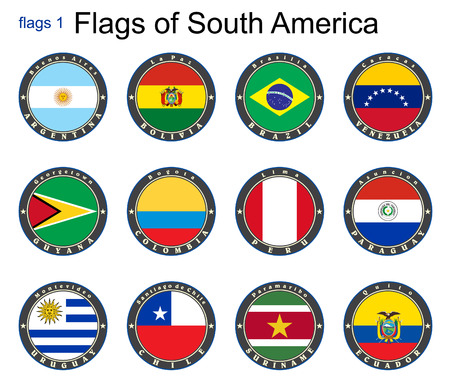 World flags. South America. Vector. Vector