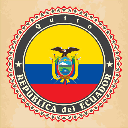 Vintage label cards of Ecuador flag. Vector Vector
