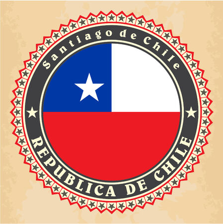 Vintage label cards of Chile flag. Vector Vector