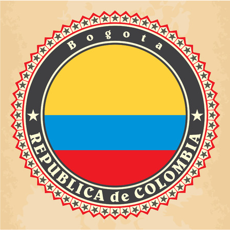 Vintage label cards of Colombia flag. Vector Vector