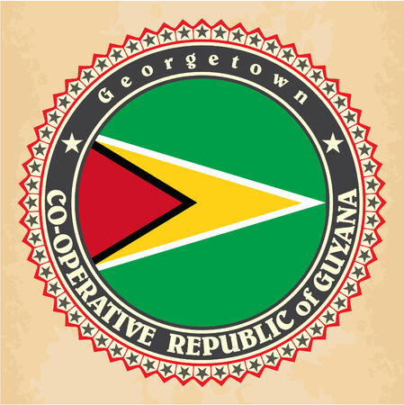 georgetown: Vintage label cards of Guyana flag. Vector Illustration