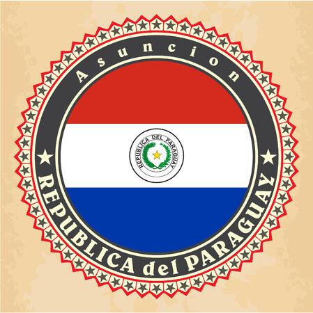 bandera de paraguay: Tarjetas de la etiqueta del vintage de la bandera de Paraguay. Vector Vectores