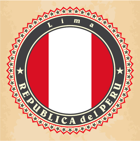 Vintage label cards of Peru flag. Vector Vector