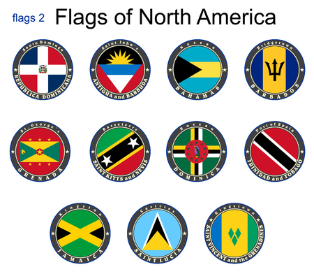 Flags of North America. Flags 2. Vector. Vector