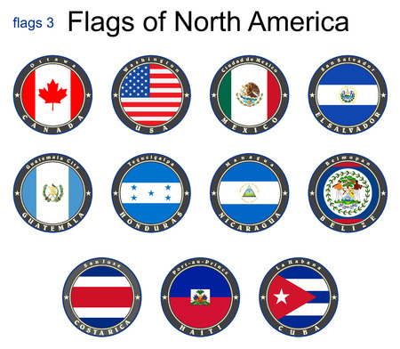 Flags of North America. Flags 3. Vector. Vector