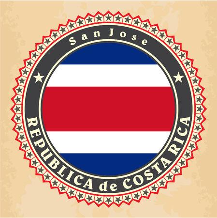 rican: Tarjetas de la etiqueta del vintage de la bandera de Costa Rica. Vector