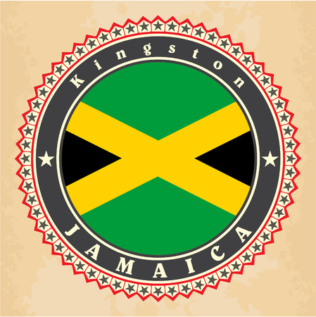 Vintage label cards of Jamaica flag. Vector Vector