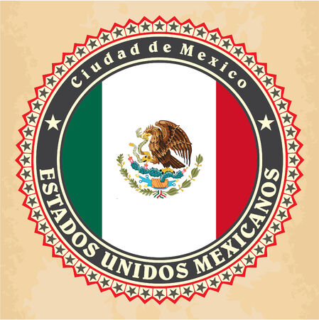 Vintage label cards of Mexico flag. Vector Vector