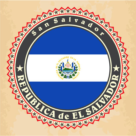 el salvador: Vintage label cards of El Salvador flag. Vector