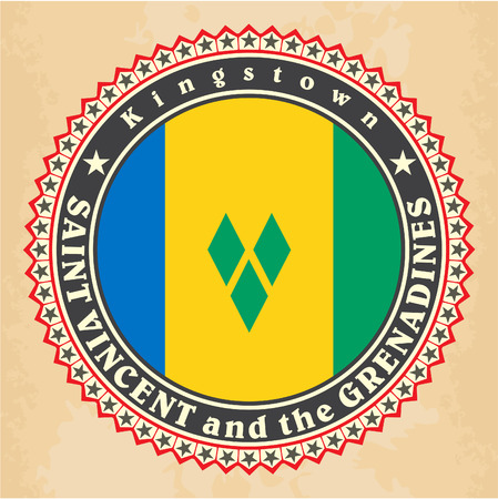 Vintage label cards of Saint Vincent and the Grenadines flag. Vector Vector