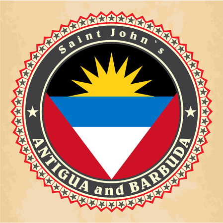 Vintage label cards of Antigua and Barbuda flag. Vector Vector