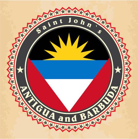 barbuda: Vintage label cards of Antigua and Barbuda flag. Vector Illustration
