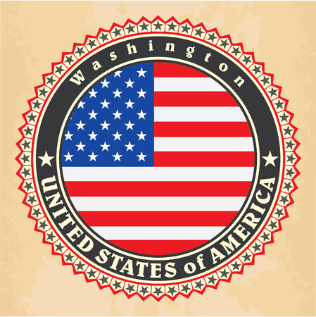 Vintage label cards of United States of America flag. Vector Vector